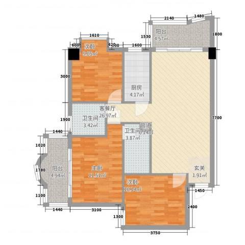 荣庆大厦3室1厅2卫1厨112.00㎡户型图