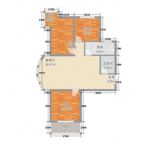 崇城国际3室1厅1卫1厨1122.00㎡户型图