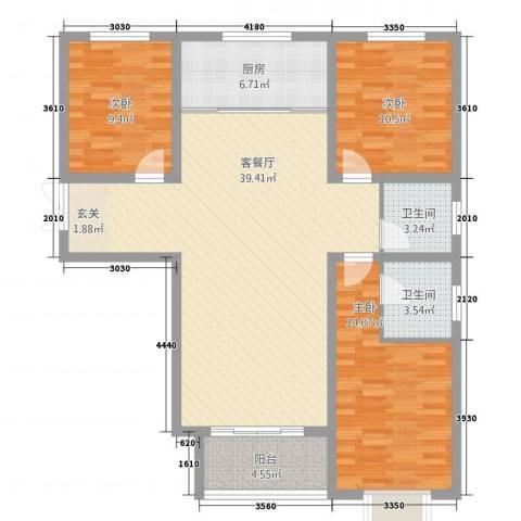 崇城国际3室1厅2卫1厨1614.00㎡户型图