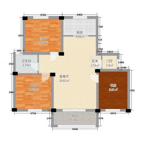 福达园3室1厅1卫1厨3321.00㎡户型图