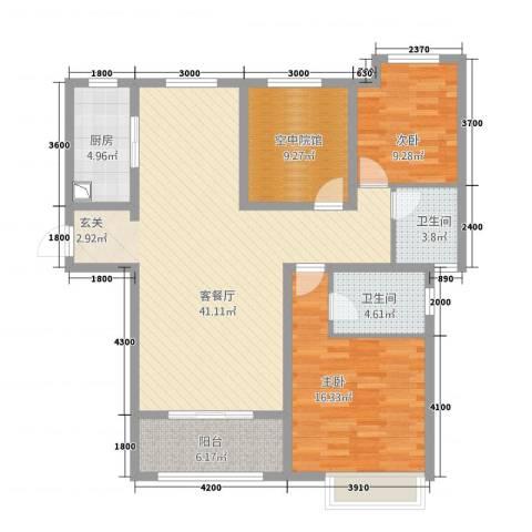恒茂国际都会2室1厅2卫1厨137.00㎡户型图