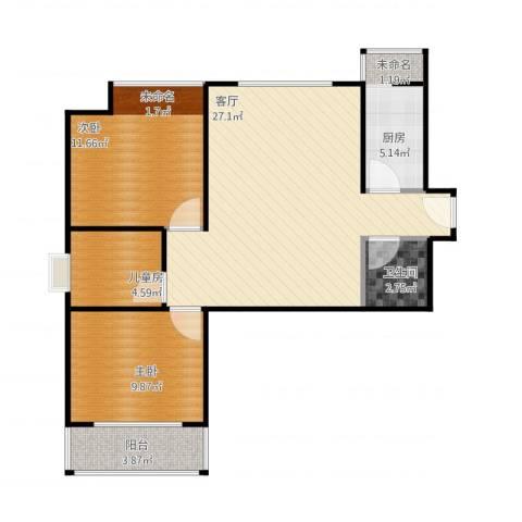 盐东小区3室1厅1卫1厨88.00㎡户型图