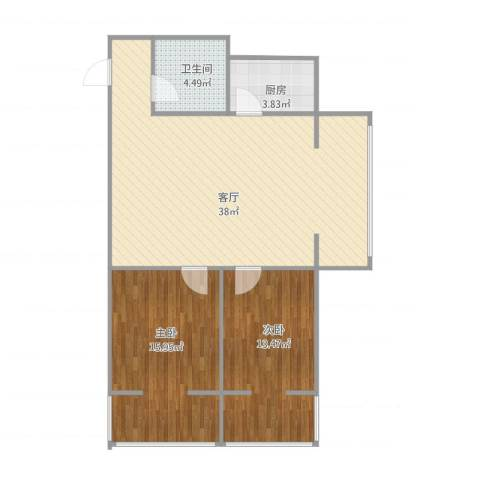 宝枫佳苑2室1厅1卫1厨99.00㎡户型图