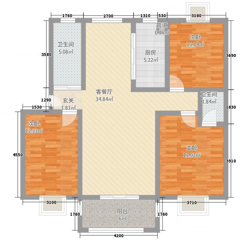 融和家园23115.72㎡B2户型3室2厅2卫1厨