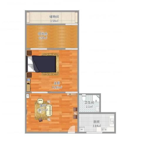 工人新村1室1厅1卫1厨56.00㎡户型图