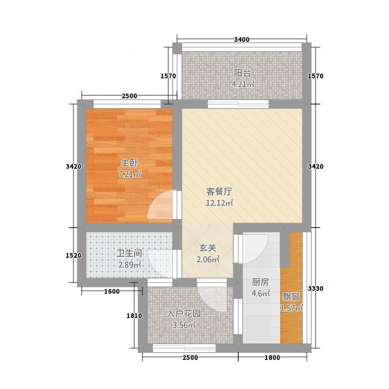 华荣大厦二期53.13㎡户型1室1厅1卫1厨