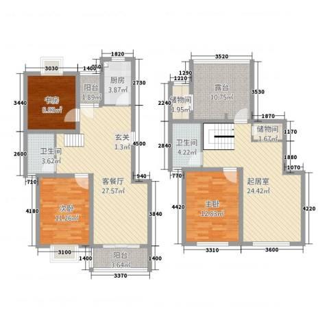 宝林春天苑申江远景3室1厅2卫1厨168.00㎡户型图