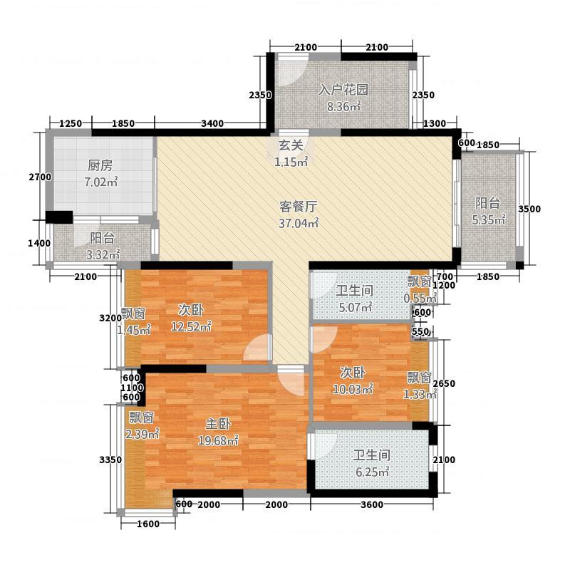 保利中环广场12135.20㎡1座02单位户型3室2厅2卫1厨