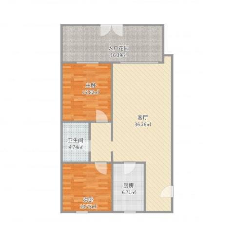 宝翠花都瞰景园2室1厅1卫1厨117.00㎡户型图