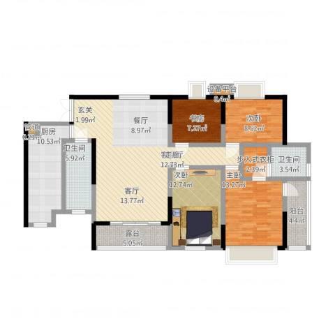 润锦御珑山4室1厅2卫1厨163.00㎡户型图