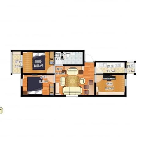 滨河西里北区3室1厅1卫1厨82.00㎡户型图