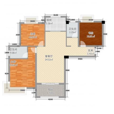 东方今典中央城3室1厅2卫1厨91.95㎡户型图