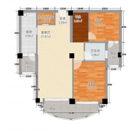 东湖京华2室1厅1卫1厨64.69㎡户型图