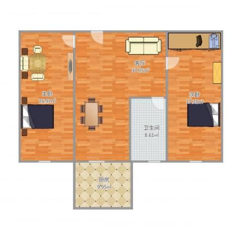 面粉厂家属院2室1厅1卫1厨145.00㎡户型图