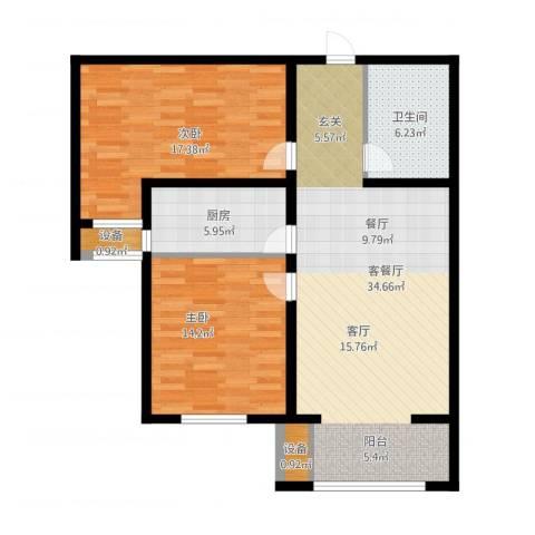 怀特翰墨儒林2室1厅1卫1厨114.00㎡户型图