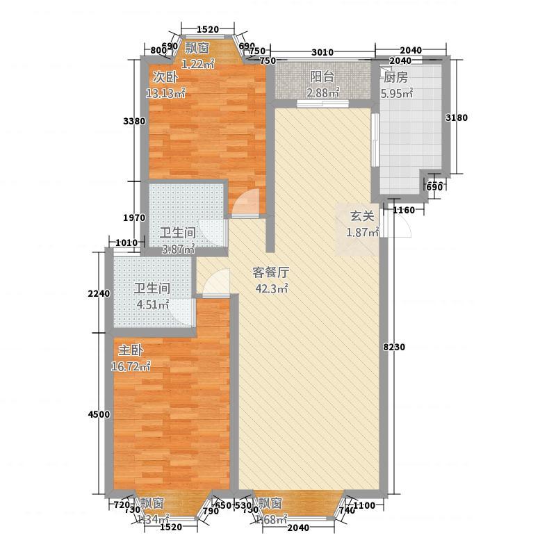 建盈国际城211.20㎡户型2室2厅2卫1厨