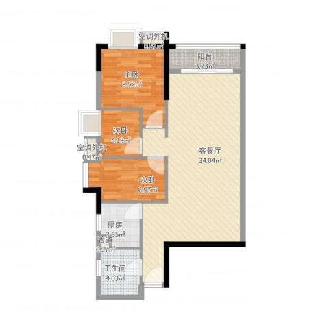 嘉逸花园宽派3室1厅1卫1厨95.00㎡户型图