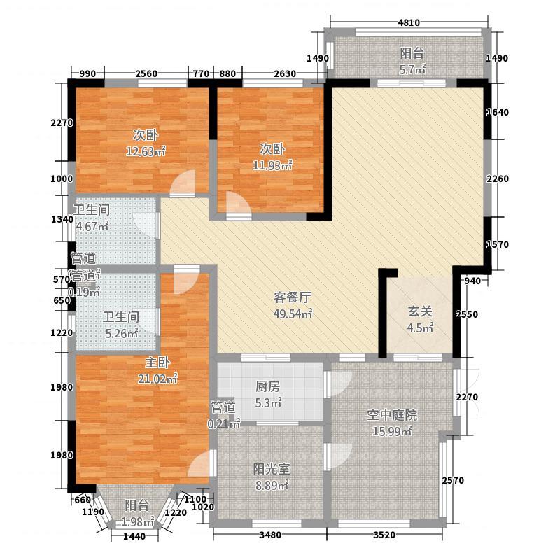 帝景豪庭4321.20㎡178户型4室3厅2卫1厨