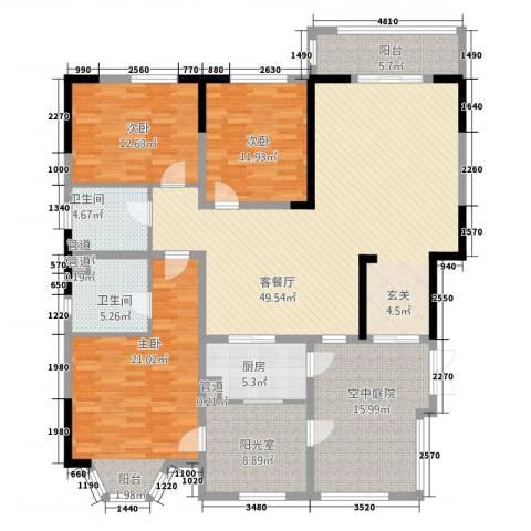 帝景豪庭3室1厅2卫1厨4321.00㎡户型图
