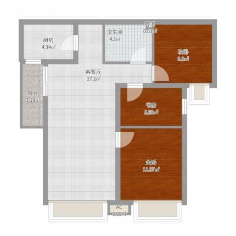 珠江东都国际3室1厅1卫1厨93.00㎡户型图