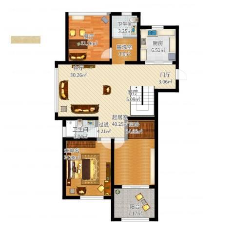 望湖御景1室1厅2卫1厨143.00㎡户型图