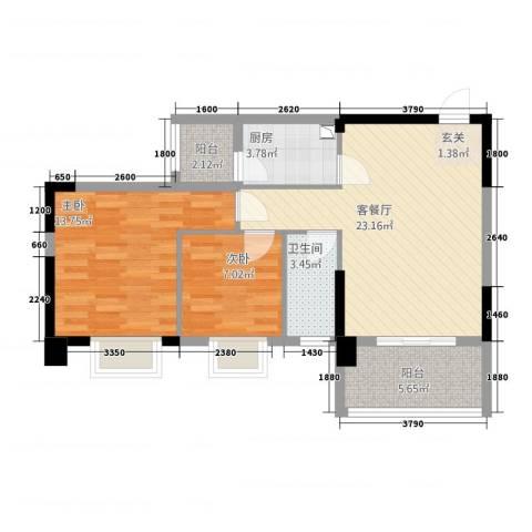 佳兆业水岸山城公寓2室1厅1卫1厨85.00㎡户型图