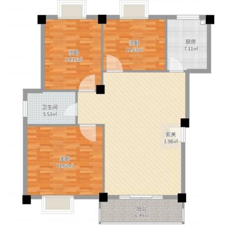 天域3室1厅1卫1厨138.00㎡户型图