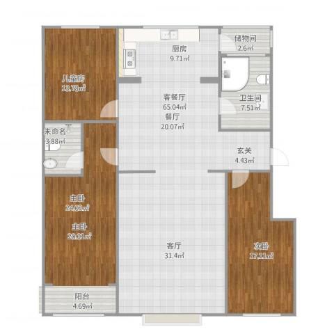 鑫和花园3室1厅1卫1厨178.00㎡户型图