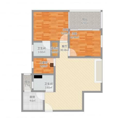 天雅居3室1厅2卫1厨112.00㎡户型图