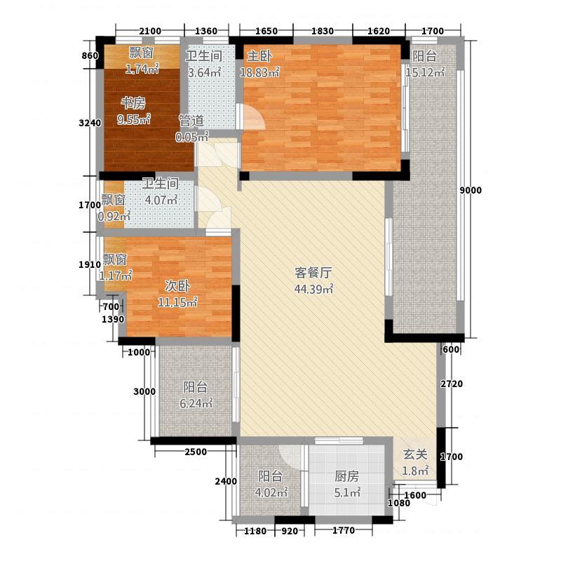 花滩国际新城丁香郡143.20㎡高层C17、8号楼1/6号房户型3室2厅2卫1厨