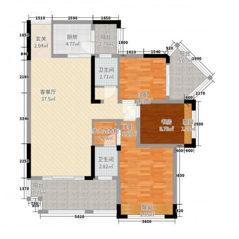 花滩国际新城丁香郡3室1厅2卫1厨117.33㎡户型图