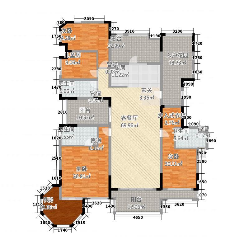 万科金域华庭248.00㎡榆景阁A01单位户型4室2厅3卫1厨