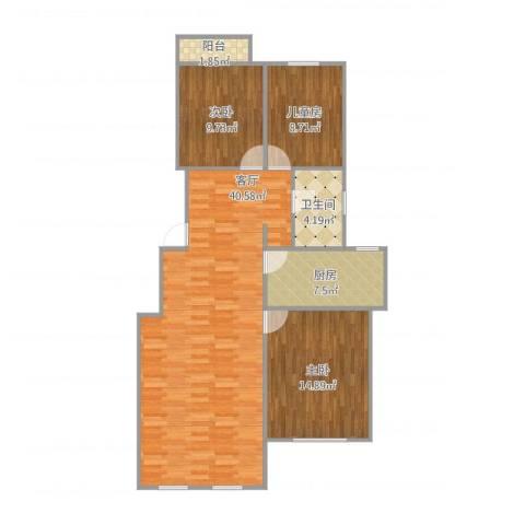 首开香溪郡3室1厅1卫1厨117.00㎡户型图