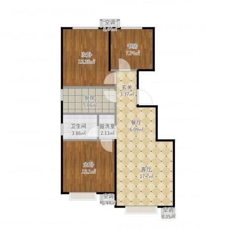 首创伊林郡3室1厅2卫3厨96.00㎡户型图
