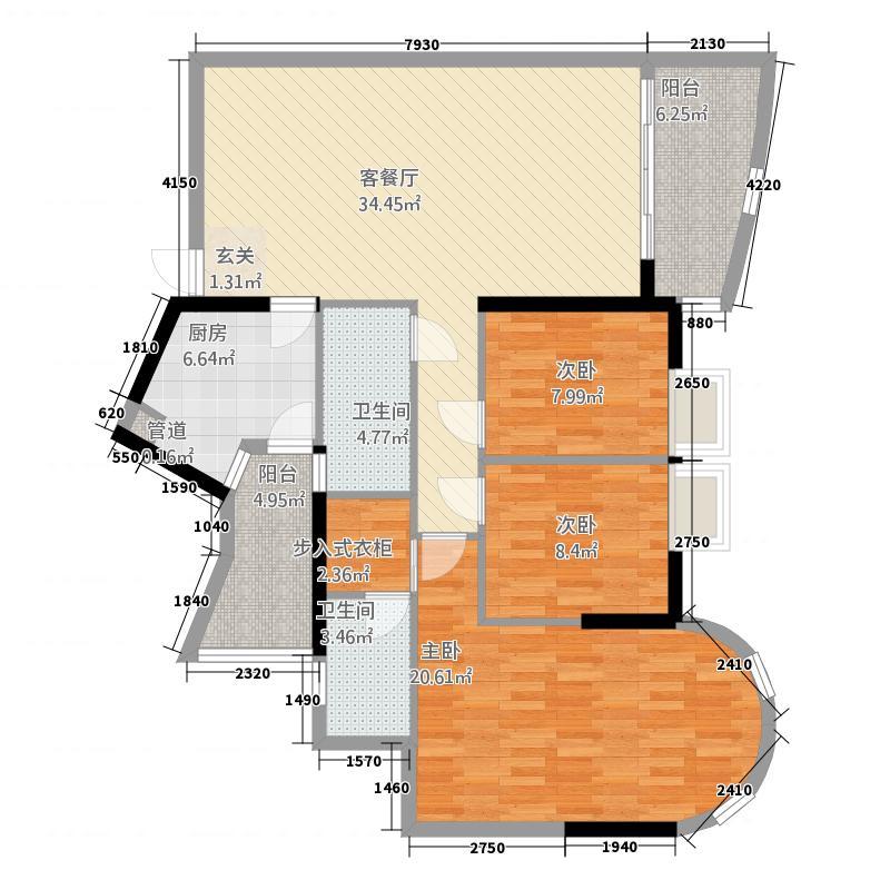 金穗东苑141.88㎡B塔1502户型3室2厅2卫1厨