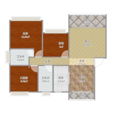 蕉岭奥园广场3室1厅2卫1厨105.00㎡户型图