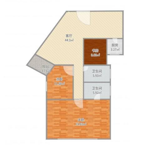 环湖花园24043室1厅2卫1厨156.00㎡户型图