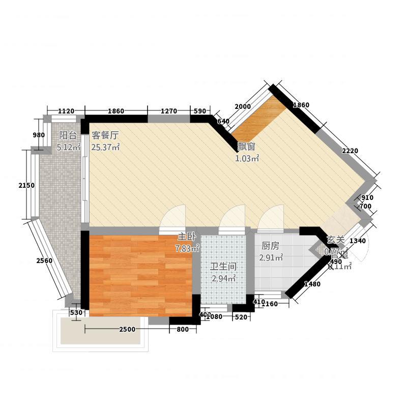 沙田东港城二期55.26㎡沙田东港城二期户型图4区3栋4单元3-17层04户型1室2厅1卫1厨户型1室2厅1卫1厨