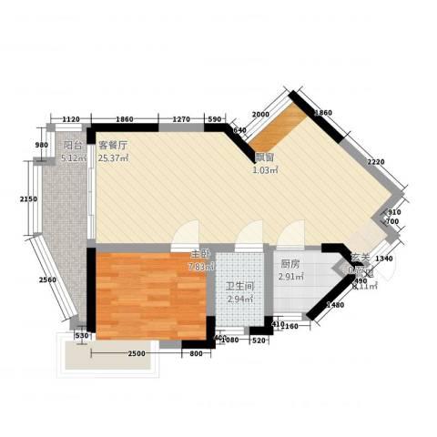 沙田东港城二期1室1厅1卫1厨55.00㎡户型图