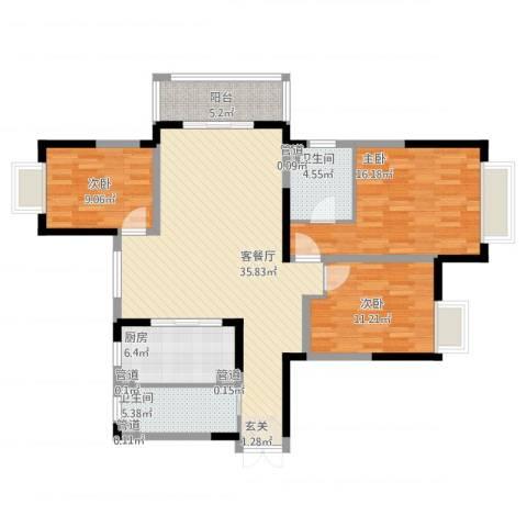 康利华府3室1厅2卫1厨135.00㎡户型图
