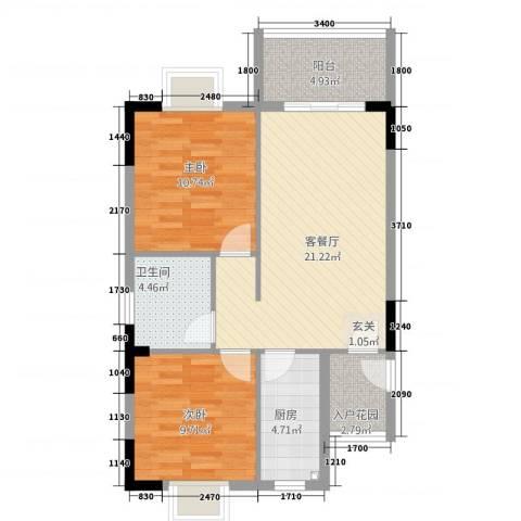 东方蓝城一号2室1厅1卫1厨66.45㎡户型图