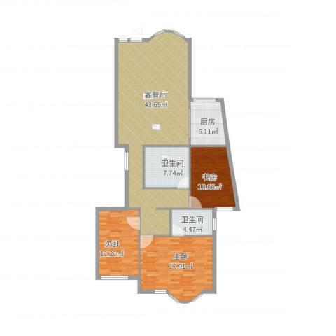 上京新航线3室1厅2卫1厨140.00㎡户型图