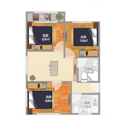 龙南六村3室1厅1卫1厨58.00㎡户型图