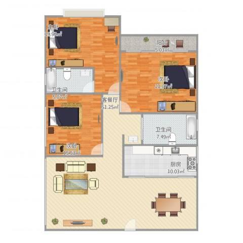 绿苑小区3室1厅2卫1厨180.00㎡户型图