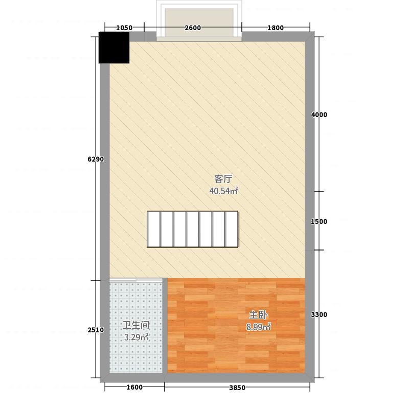 榆海大厦45.25㎡唯美复式上层户型2室2厅1卫1厨