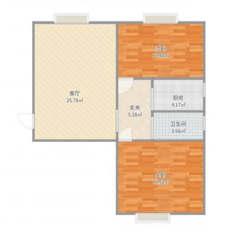 阳光二村2室1厅1卫1厨91.00㎡户型图