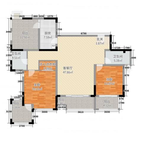 万科金域华庭2室1厅2卫1厨153.00㎡户型图