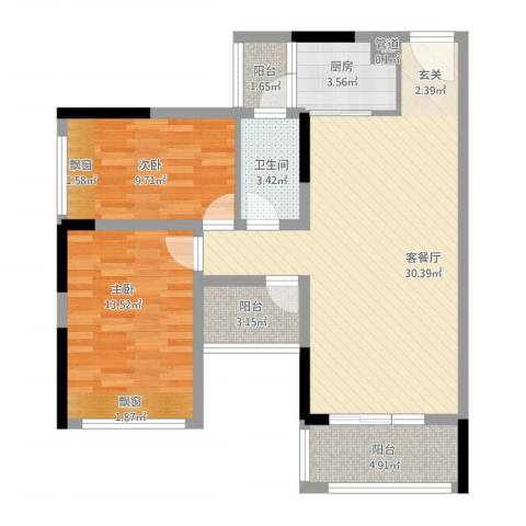 阳光海岸宽寓2室1厅1卫1厨102.00㎡户型图