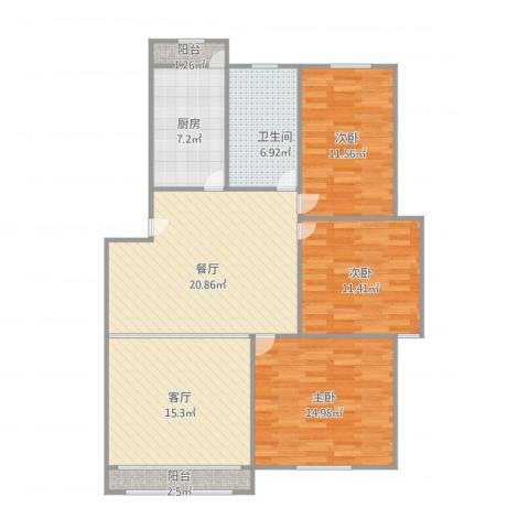 龙沟新苑3室2厅1卫1厨124.00㎡户型图