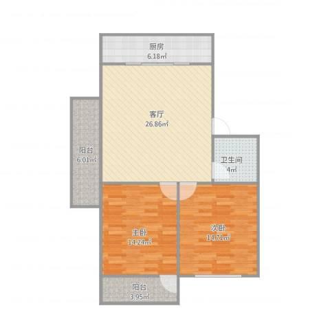 白马家园2室1厅1卫1厨102.00㎡户型图